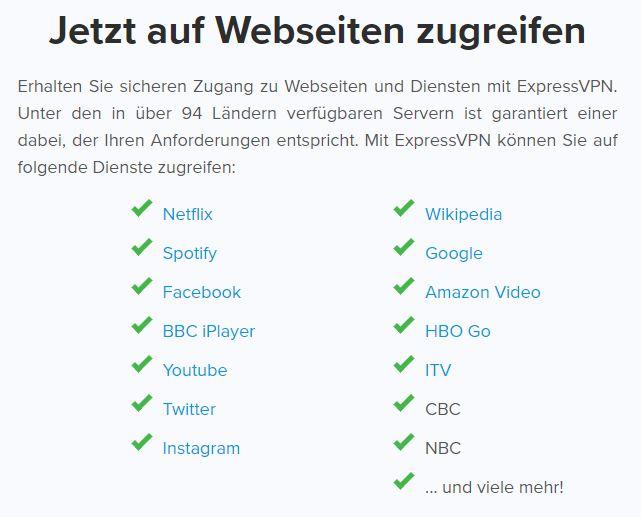 ExpressVPN streams with - German