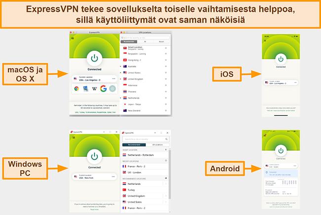 Näyttökuva ExpressVPN: n sovellusrajapinnoista Windowsille, Androidille, Macille ja iPhonelle