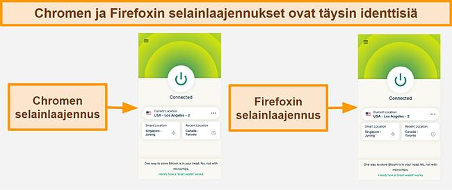Näyttökuva ExpressVPN: n selainlaajennuksesta Google Chromelle ja Mozilla Firefoxille
