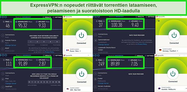 Näyttökuvat ExpressVPN: n nopeustestituloksista, kun ne ovat yhteydessä eri palvelimiin maailmanlaajuisesti
