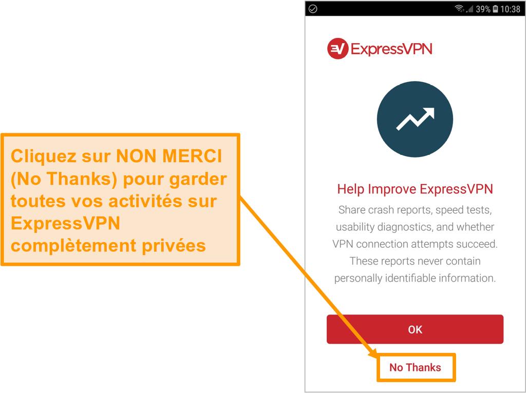 Capture d'écran de l'application Android d'ExpressVPN demandant d'accéder aux rapports de plantage, aux tests de vitesse, aux diagnostics d'utilisabilité et aux échecs de connexion VPN