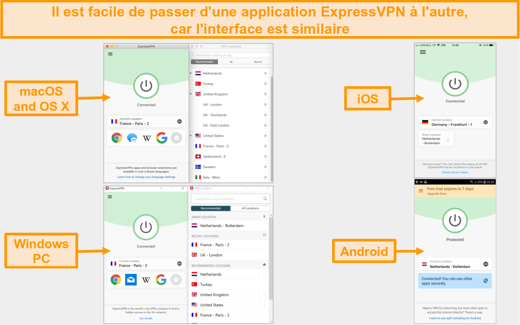 Comparaison de l'interface utilisateur et de la disposition des applications ExpressVPN pour Mac, OS X, iOS, Windows et Android