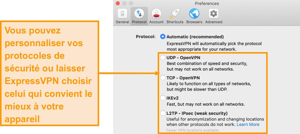 Capture d'écran des protocoles de sécurité d'ExpressVPN sur l'application