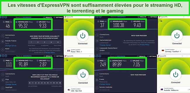 Captures d'écran des résultats des tests de vitesse d'ExpressVPN lorsqu'il est connecté à différents serveurs dans le monde