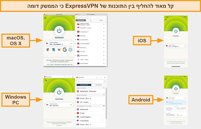 צילום מסך של ממשקי האפליקציה של ExpressVPN עבור Windows, Android, Mac ו- iPhone