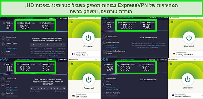 צילומי מסך של תוצאות בדיקת המהירות של ExpressVPN כאשר הם מחוברים לשרתים שונים ברחבי העולם