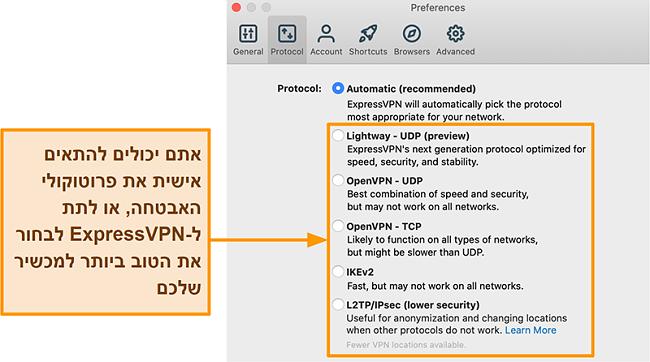 צילום מסך של אפליקציית ExpressVPN המציג את כל הפרוטוקולים הזמינים כולל Lightway, OpenVPN, IKEv2 ו- L2TP / IPsec