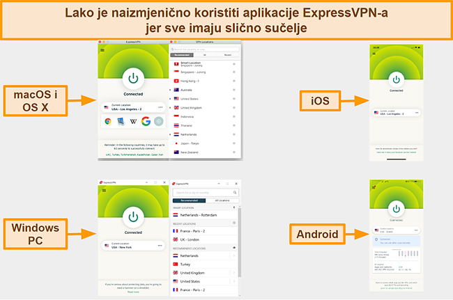 Snimak zaslona sučelja aplikacija ExpressVPN za Windows, Android, Mac i iPhone