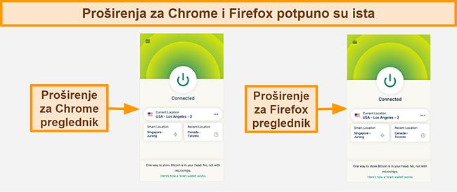 Snimak zaslona ekspresije ExpressVPN-ovog preglednika za Google Chrome i Mozilla Firefox