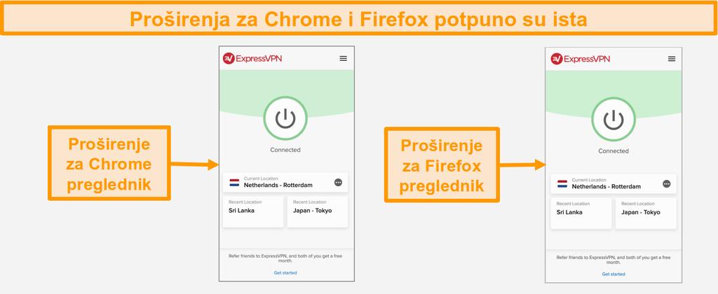 Snimka zaslona proširenja preglednika ExpressVPN za Chrome i Firefox