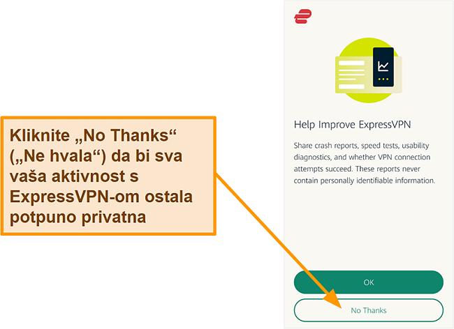 Snimka zaslona aplikacije ExpressVPN koja traži dopuštenje korisnika za dijeljenje izvješća o padu, ispitivanju brzine i ostalim korisničkim podacima s tvrtkom