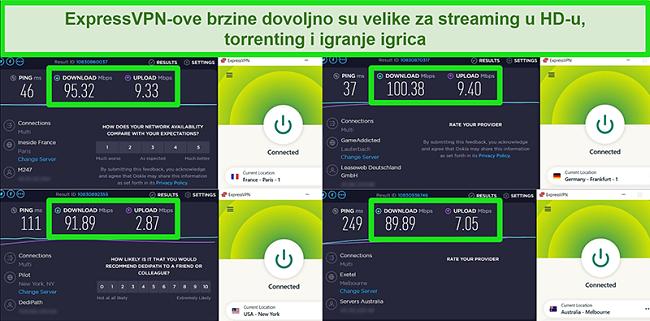 Snimke zaslona rezultata ispitivanja brzine ExpressVPN-a kada su globalno povezani s različitim poslužiteljima
