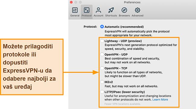 Snimka zaslona aplikacije ExpressVPN koja prikazuje sve dostupne protokole, uključujući Lightway, OpenVPN, IKEv2 i L2TP / IPsec