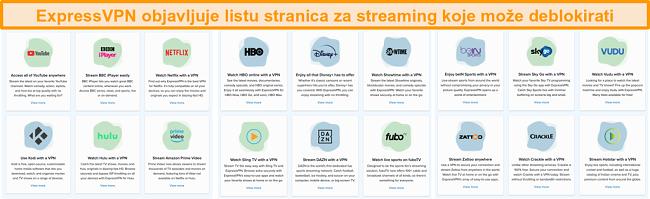 Snimka zaslona web stranice ExpressVPN s popisom svih servisa za streaming koji se može deblokirati, uključujući Netflix i BBC iPlayer