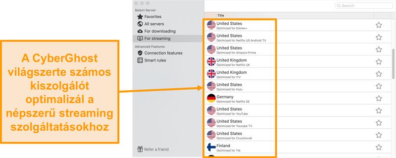 A CyberGhost Mac alkalmazásának képernyőképe a streaminghez optimalizált szerverekről