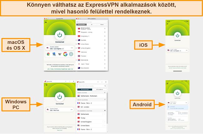 Pillanatkép az ExpressVPN alkalmazásfelületeiről Windows, Android, Mac és iPhone számára