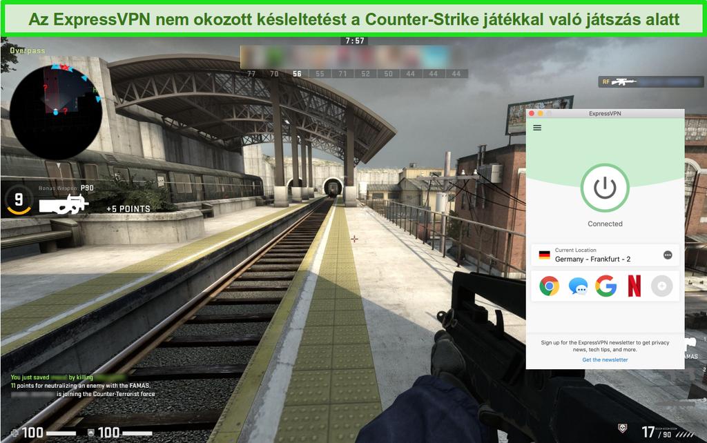 Az Counter-Strike: Globális sértő online játék képernyőképe, miközben csatlakozik az ExpressVPN-hez