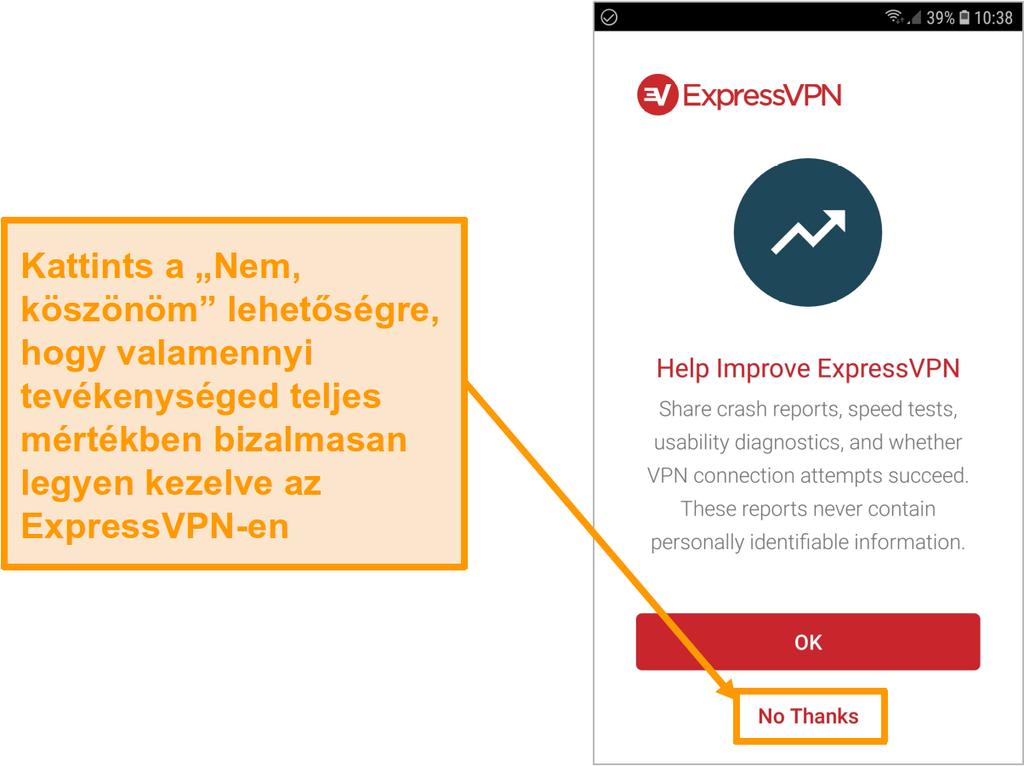 Az ExpressVPN Android-alkalmazásának képernyőképe, amely hozzáférési kérést jelent az összeomlási jelentésekhez, a sebesség-tesztekhez, a használhatósági diagnosztikához és a VPN-kapcsolat meghibásodásához