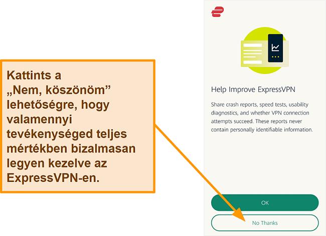 Pillanatkép az ExpressVPN alkalmazásról, amely felhasználói engedélyt kér az összeomlási jelentések, a sebességteszt és más felhasználói adatok megosztására a céggel