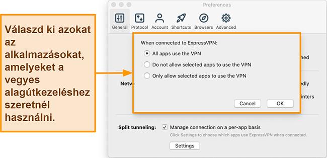 Pillanatkép arról a felhasználóról, aki beállítja az osztott alagút funkciót az ExpressVPN alkalmazásban
