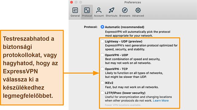 Képernyőkép az ExpressVPN alkalmazásról, amely megjeleníti az összes elérhető protokollt, beleértve a Lightway, OpenVPN, IKEv2 és L2TP / IPsec