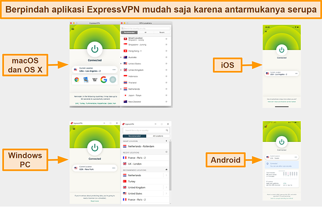 Tangkapan layar antarmuka aplikasi ExpressVPN untuk Windows, Android, Mac, dan iPhone