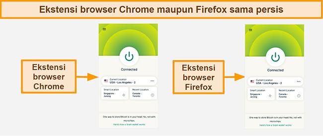Tangkapan layar dari ekstensi browser ExpressVPN untuk Google Chrome dan Mozilla Firefox