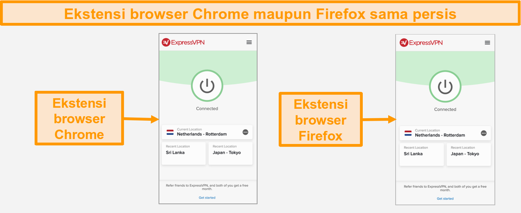 Cuplikan layar ekstensi browser ExpressVPN untuk Chrome dan Firefox