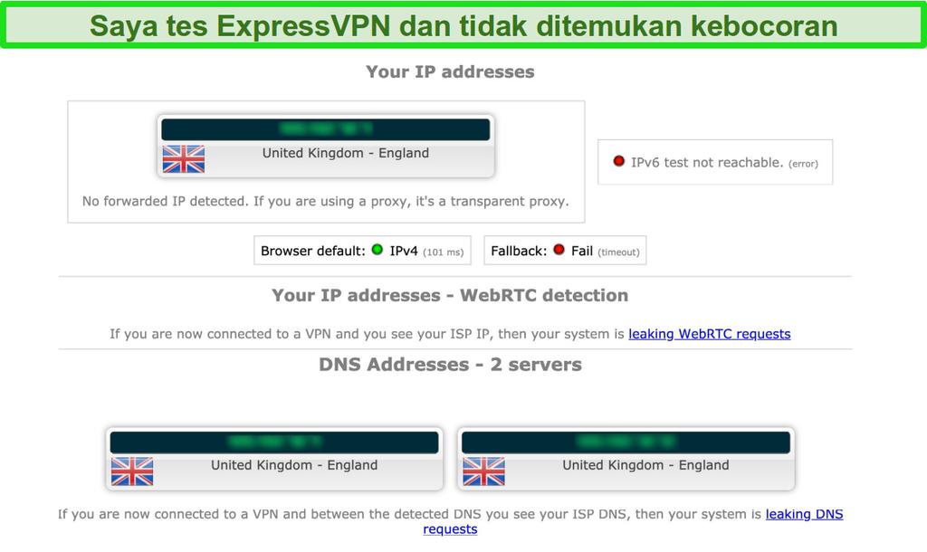 Cuplikan layar hasil tes kebocoran ExpressVPN saat terhubung ke server di Inggris