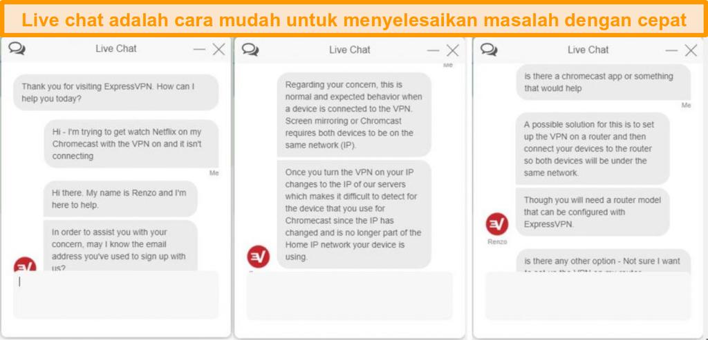 Cuplikan layar percakapan obrolan langsung dengan perwakilan layanan pelanggan ExpressVPN