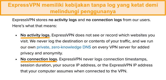 Cuplikan layar kebijakan privasi ExpressVPN di situs webnya