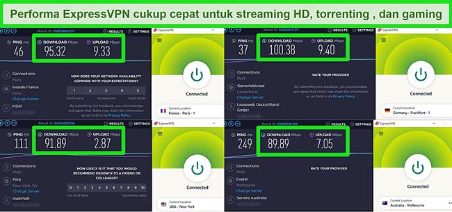 Tangkapan layar dari hasil uji kecepatan ExpressVPN saat terhubung ke server yang berbeda secara global