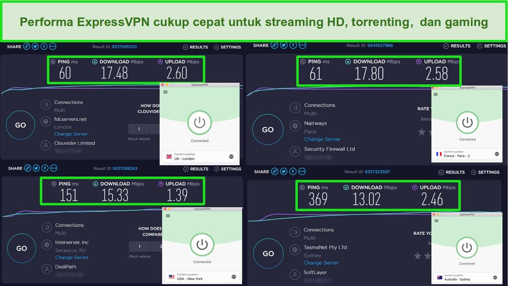 Cuplikan layar hasil tes kecepatan ExpressVPN ketika terhubung ke server di Inggris, Prancis, Amerika Serikat, dan Australia