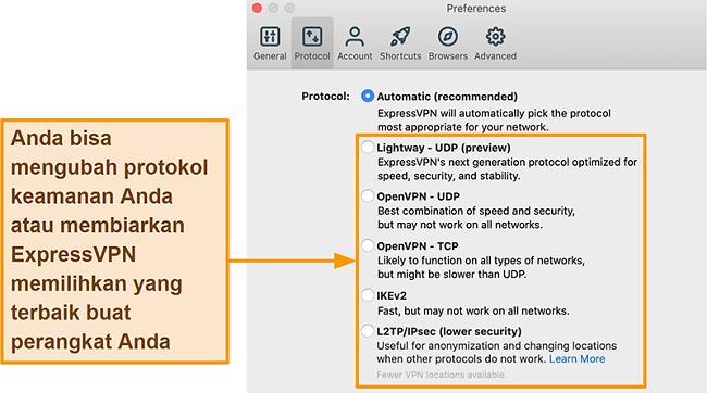 Tangkapan layar aplikasi ExpressVPN yang menampilkan semua protokol yang tersedia termasuk Lightway, OpenVPN, IKEv2 dan L2TP / IPsec