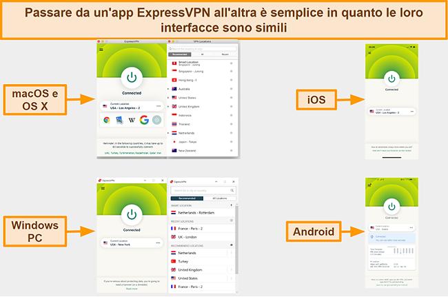 Screenshot delle interfacce delle app di ExpressVPN per Windows, Android, Mac e iPhone