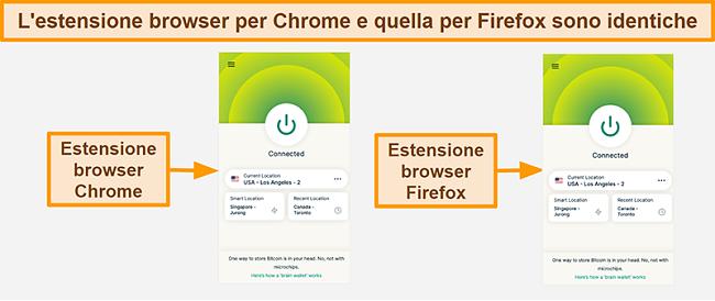 Screenshot dell'estensione del browser di ExpressVPN per Google Chrome e Mozilla Firefox