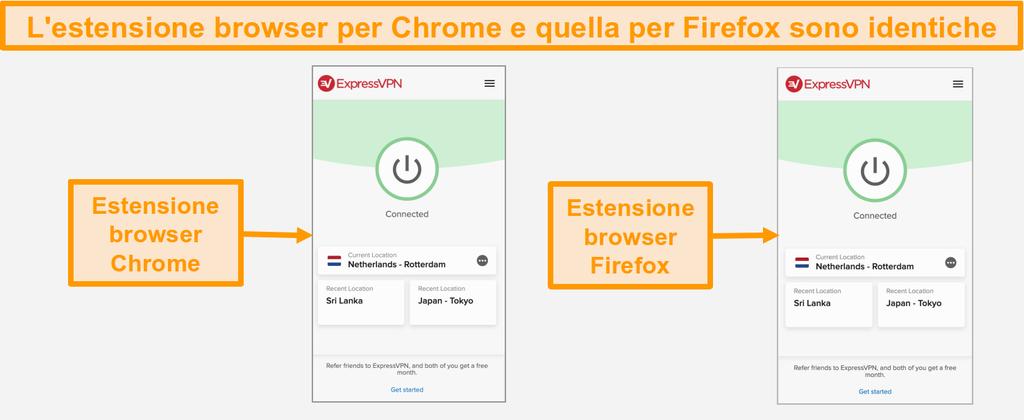 Schermata delle estensioni del browser ExpressVPN per Chrome e Firefox