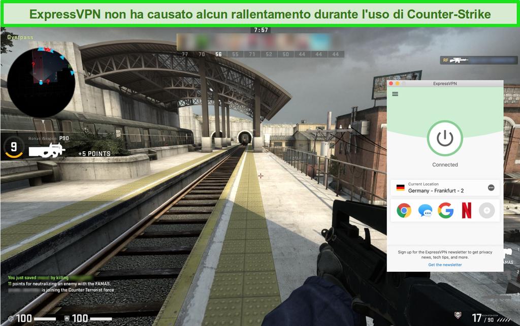 Schermata di Counter-Strike: gioco online offensivo globale mentre si è connessi a ExpressVPN