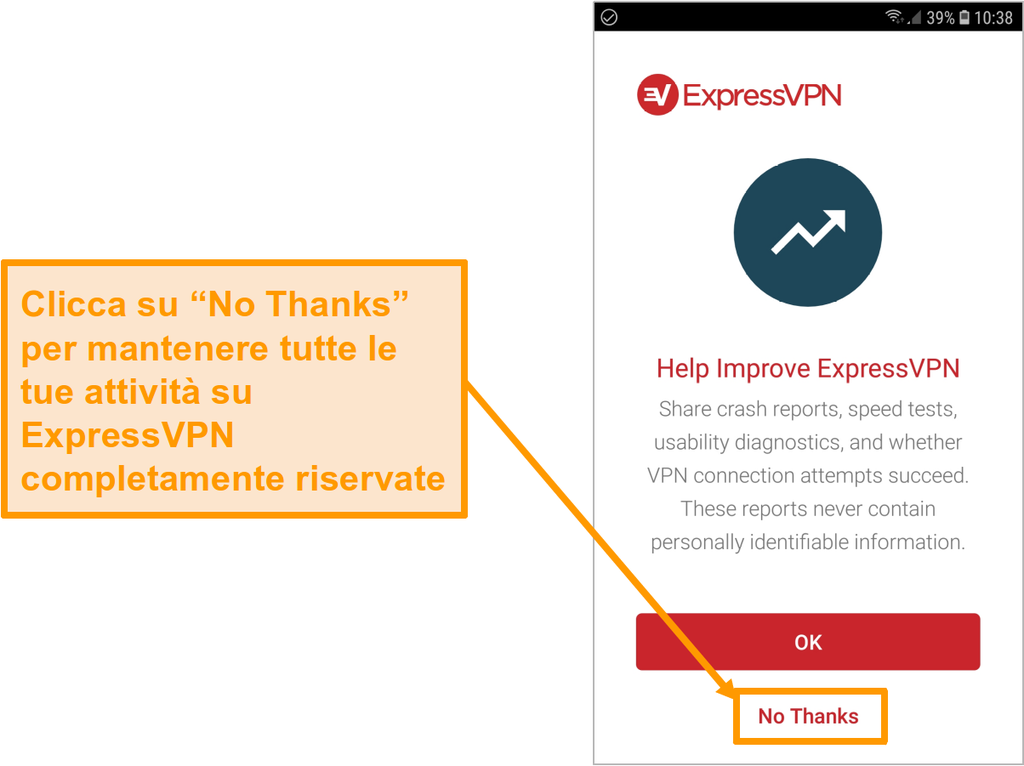 Schermata dell'app Android di ExpressVPN che chiede di accedere a rapporti sugli arresti anomali, test di velocità, diagnostica dell'usabilità e errori di connessione VPN