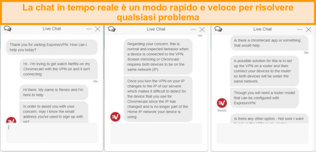 Schermata di una conversazione di chat dal vivo con un rappresentante del servizio clienti ExpressVPN
