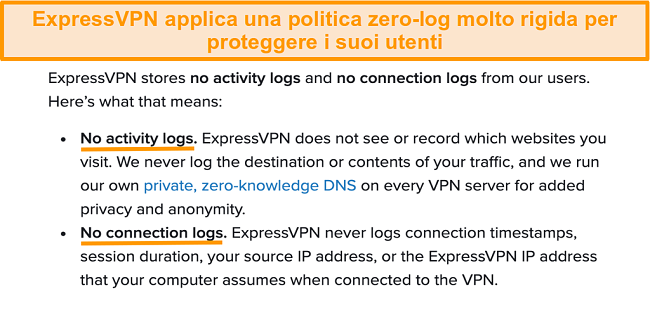 Schermata della politica sulla privacy di ExpressVPN sul suo sito Web