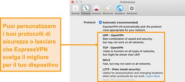 Schermata dei protocolli di sicurezza di ExpressVPN sull'app