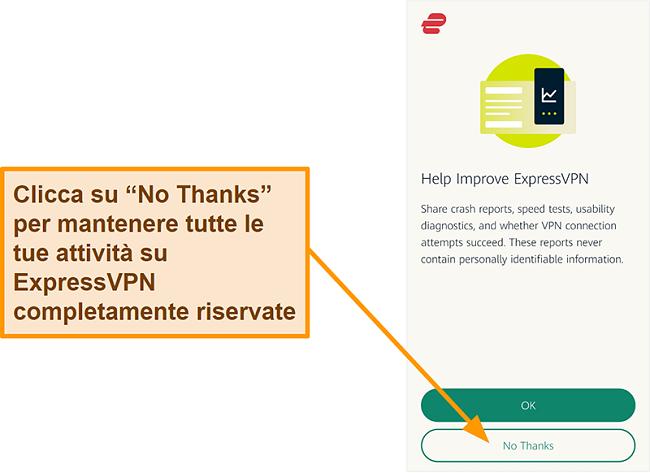 Screenshot dell'app ExpressVPN che richiede l'autorizzazione dell'utente per condividere rapporti sugli arresti anomali, test di velocità e altri dati utente con l'azienda