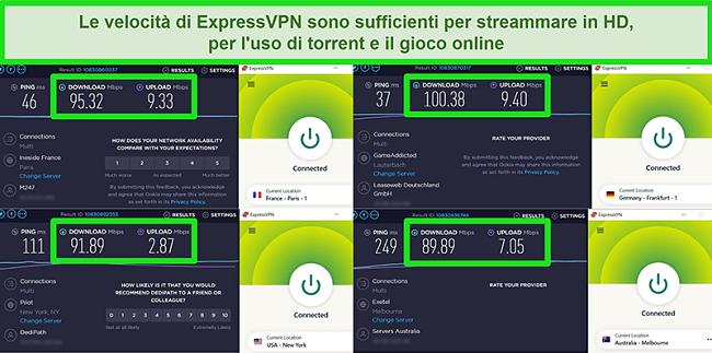 Schermate dei risultati del test di velocità di ExpressVPN quando connesso a diversi server a livello globale