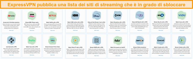 Schermata del sito Web di ExpressVPN che elenca tutti i servizi di streaming che può sbloccare, inclusi Netflix e BBC iPlayer