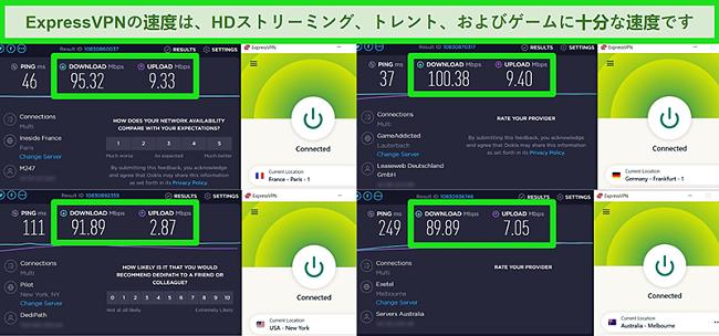 グローバルに異なるサーバーに接続した場合のExpressVPNの速度テスト結果のスクリーンショット