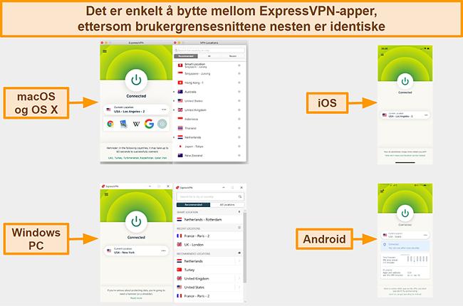 Skjermbilde av ExpressVPNs app-grensesnitt for Windows, Android, Mac og iPhone