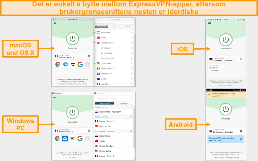 Sammenligning av ExpressVPN mac, OS X, iOS, Windows og Android app brukergrensesnitt og layout