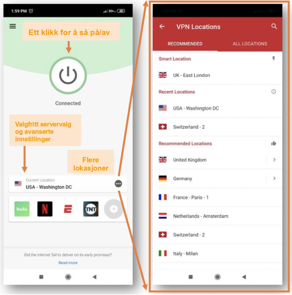Skjermbilde av ExpressVPN mobilapp
