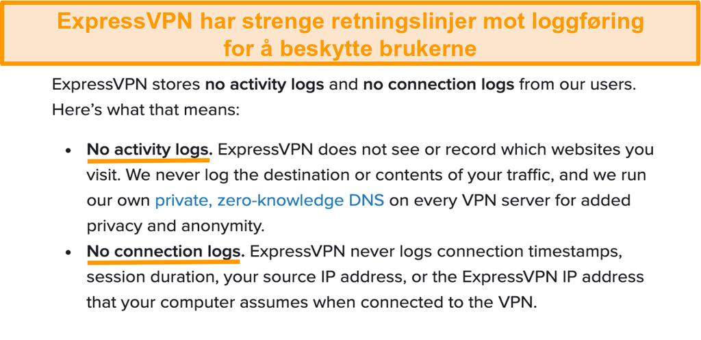 Skjermbilde av ExpressVPNs personvernregler på nettstedet